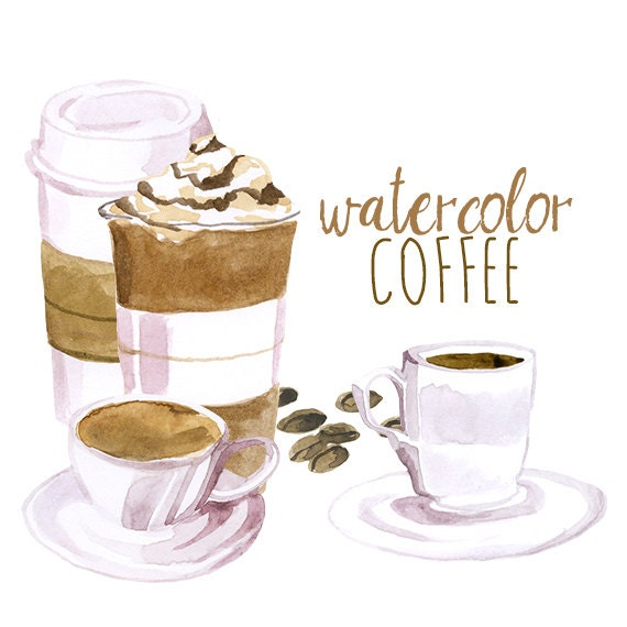 Watercolor Coffee Clip Art, Artistic Late Clipart ...