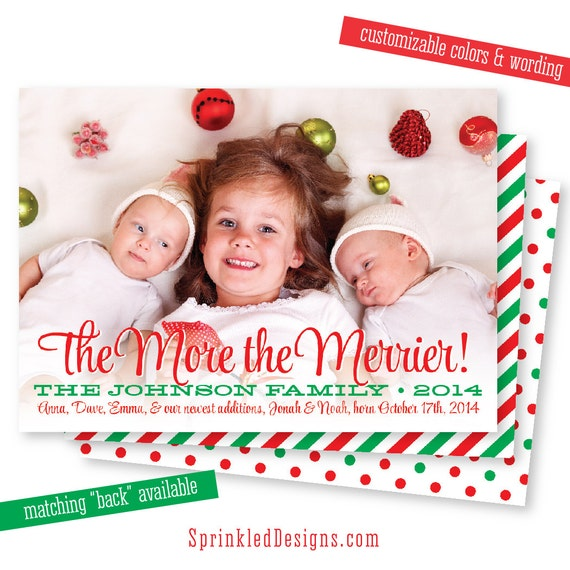 New Baby Christmas Card Photo Card The More the Merrier – Birth Announcement Christmas Cards