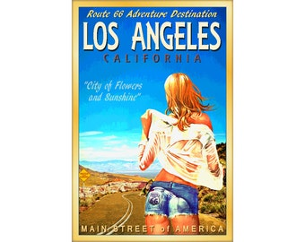 LOS ANGELES California Route 66 Road Cutoff Jeans Poster Desert Southwest Daisy Dukes Blonde -in 4 sizes- Will Rogers Highway Art Print 160