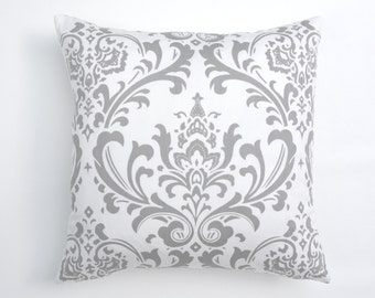 20% OFF SALE Gray pillow covers, Decorative pillows,  Grey pillow , Nursery Pillow , White and Grey Damask pillow , pillow cover only