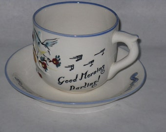 Large ceramic coffee mug Geo Z Lefton morning grouch darling birds owl sauce