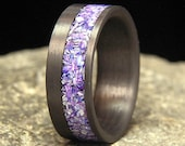 Mixed Mother of Pearl Offset Inlay Carbon Fiber Wedding Band or Ring