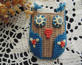 Owl Ornament Needlepoint Dusty Blue Beaded Gift Card  Business Card Holder