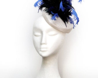 Blue & Black Veil Fascinator / Hat