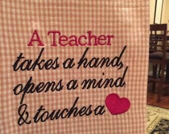 Embroidered Teacher Appreciation Dish Towel / Tea Towel