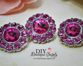 PINK Rhinestone Buttons - 21 mm - Acrylic Crystal Buttons Rhinestone Embellishments Scrapbooking Flower centers HairBow centers 5 pcs 209035