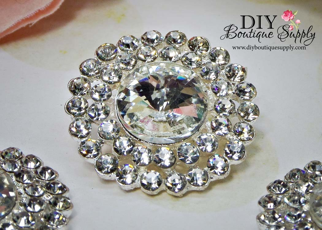 Large Rhinestone Buttons Crystal Buttons Flatback