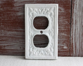 White Outlet Cover, Electrical Outlet Plate, Wall Plug Cover Outlet Plate Cover, Cast Iron Fleur de lis cover plate, Wall Socket Cover
