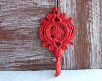 Red Hook, Ornate Wall Hooks, Decorative Wall Hook, Cast iron metal small hook, Entryway Key Hook, Hand painted Red wall decor