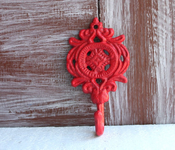 Small Key Wall Decor : Items similar to red hook ornate wall hooks decorative