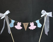 Gender reveal cake topper, ties or tutus baby shower party cake, cake bunting, cake banner, cake decoration, boy or girl baby shower