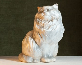 VINTAGE Super Cute Shabby Prissy Ceramic Kitty CAT Yard Art Decor Figurine