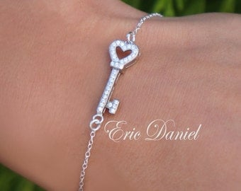 Sideways Heart Key Bracelet Sterling Silver, Yellow or Rose Gold, Silver Heart Bracelet, CZ Key, Gold Key, Key To My Heart, Wedding Key