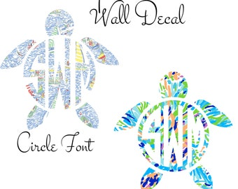 Monogram Turtle Decal