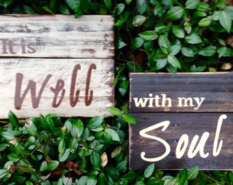 "Wood Sigb, Rustic, Distressed Reclaimed Wood Sign, ""It is Well with my Soul"" set"