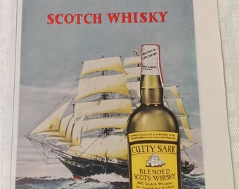 Liquor Ad Advertisment, Scotch Whiskey Vintage Magazine Ad Advertising CUTTY SARK, Man Cave Wall Decor Gifts, Holiday Magazine 1964