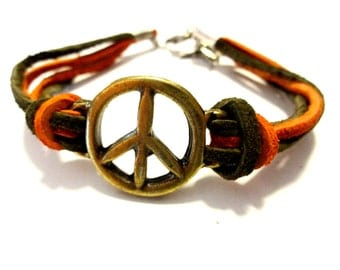 Cool Leather Bracelet,  Brass Peace Sign Bracelet, Hemp Bracelet, Hippie Bracelet, Peace Jewelry