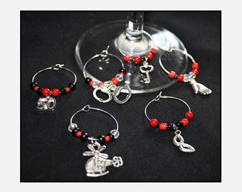 x6 Wine Glass Charms - Fifty Shades of Grey