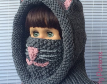 Knitting patterns * Cat Hooded Cowl * Instant download Pattern #476 * baby toddler child teen adult * bulky * fast and easy