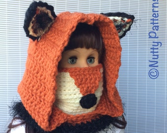 Crochet Patterns * Fox Hooded Cowl * Instant Download Pattern # 484 * baby toddler child teen adult sizes * super bulky yarn * easy