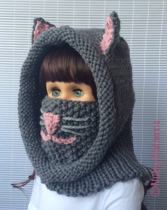 Knitting patterns Cat Hooded Cowl Instant download Pattern