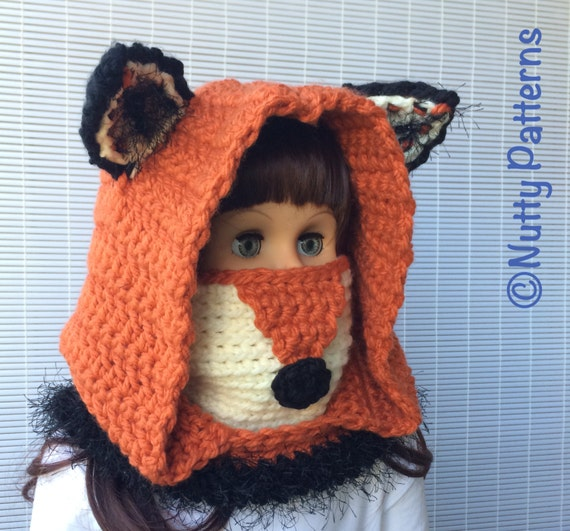 Crochet Fox Hooded Cowl Pattern : Crochet Patterns Fox Hooded Cowl Instant Download Pattern