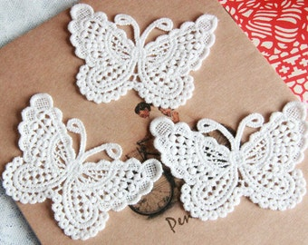 Off White Butterfly Lace Applique, Cotton Butterfly Applique Patches, Venise Butterfly Lace Motif