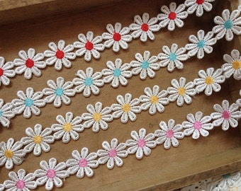 2 yards - Colorful Venise Lace Trim, Flower Lace Trim, Daisy Flower Lace Trim, Red/Yellow/Pink/Blue