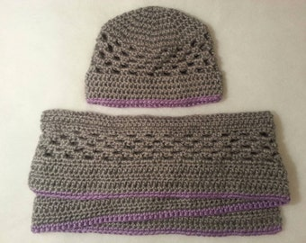Children's Lace Crochet Hat and Scarf Set Grey with Lavender