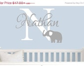 10% OFF Boys Wall decals Elephant Wall Decals Personalized nursery elephant , Children's wall decal,  vinyl wall decals Boys Name Wall Decal