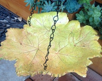Ceramic Bird bath / feeder with Natural Grape Leaf Print