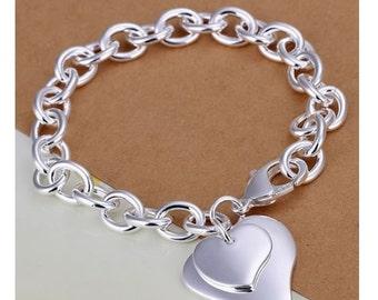 Personalized charm bracelet - Heart charm bracelet - Engraved bracelet