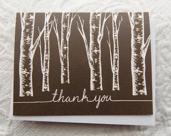 Set of 6 Brown Tree Thank You Card, 4.25x5.5, Handlettered,White Envelope, Blank Inside