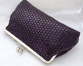 Sparkle Clutch Bag / Purse / Handbag in Dark Plum Block Design