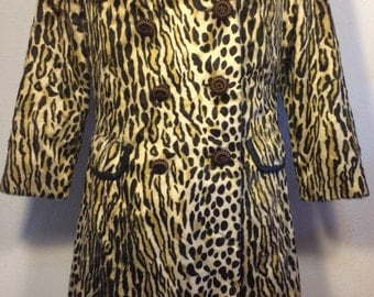 FREE  SHIPPING    Vintage  1950 Leopard Coat