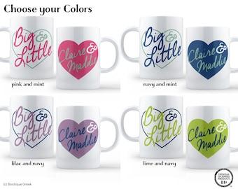 Big Little Custom Heart Personalized with Your Names Sorority Mug