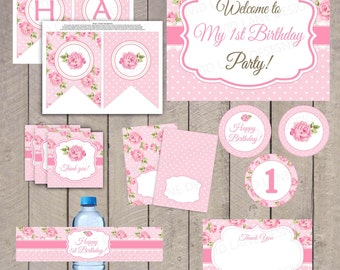 Pink Roses First Birthday Printable Package - Polka Dots, Birthday Party, Girl 1st Birthday - 5033