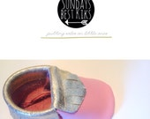Limited edition Harlow miccasins - handcrafted genuine foil gold & pink leather baby/toddler moccasins.