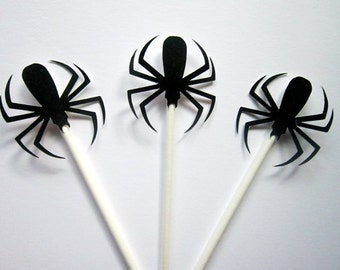 Spider Cupcake Toppers, Halloween Cupcake Toppers, Bug Party