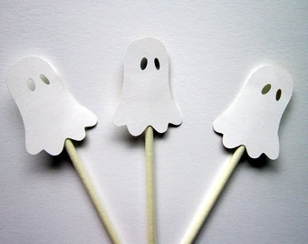 Ghost Cupcake Toppers, Halloween Cupcake Toppers