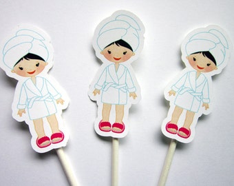 Spa Birthday Cupcake Toppers - Spa Party Cupcake Toppers