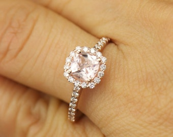 Kylie - Morganite and Diamond Engagement Ring in Rose Gold, Cushion Cut in Diamond Halo, Modern Style, Fit Flush Design, Free Shipping