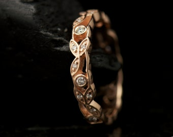 Kyra - Diamond Eternity Band in Rose Gold, Round Brilliant Cut, Prong Set, Open Leaf and Dot Design, 7/8 Eternity, Modern, Free Shipping