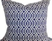 P Kaufmann Navy Blue Trellis Decorative Pillow Cover - Throw Pillow - Toss Pillow - Accent Pillow - Both Sides - 18x18, 20x20