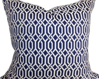 Kaufmann Blue Trellis Pillow Cover - Decorative Pillow - Throw Pillow - Both Sides - 12x16, 14x18, 14x24, 16x16, 18x18, 20x20, 22x22