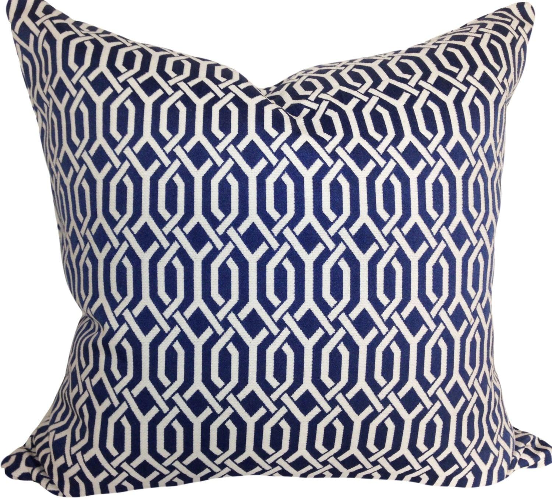 Kaufmann Blue Trellis Pillow Cover Decorative Pillow Throw