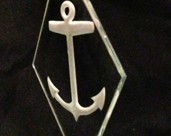 Deep etched beveled glass suncatcher / ornament with Anchor