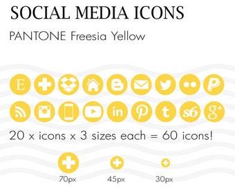 Social Media Icons 60 Pantone Freesia Yellow - Instant Download