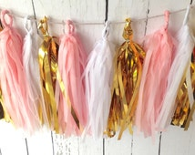 Blush pink and gold tissue tassel garland kit blush pink for Arland decoration