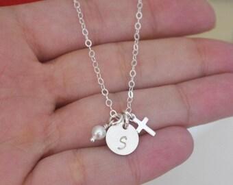 Dainty Cross Necklace, Personalized Cross Necklace, Cross Jewelry, Religious Necklace, Religious Jewelry Gift, Tiny Cross Necklace, CDCB